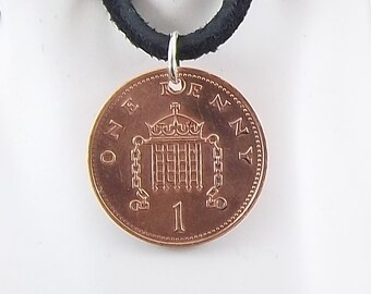 1987 England Coin Necklace, 1 Penny, Coin Pendant, Mens Necklace, Womens Necklace, Leather Cord, Vintage