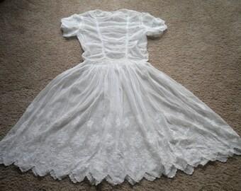 Vintage Antique Tambour Lace Dress Small Size