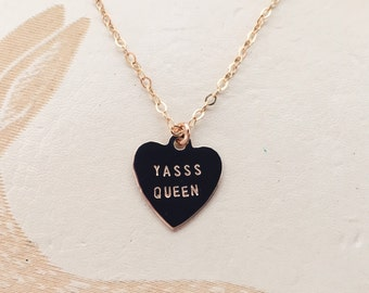 Yasss Queen Heart Charm Necklace