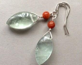 Fluorite Earrings, Carnelian Earrings, Sterling Silver Earrings, Modern Stone Jewelry, Minimalist, Marquis Cut