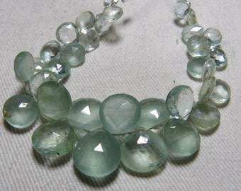 AAA - HIgh Quality So Gorgeous - Blue AQUAMARINE - Faceted Heart Briolettes huge size - 6 - 12 mm - 76 Cts - 6 inches Long