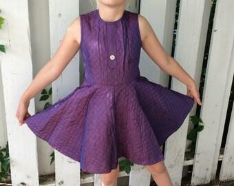 50s Girls Purple Dress Full Skirt Quilted Vintage Sleeveless 9
