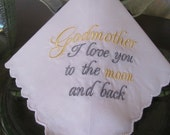 Godmother Embroidered Wedding Handkerchief Wedding Day Wedding Gift Godmother of the Bride Godmother of Groom by Simply Sweet Hankies