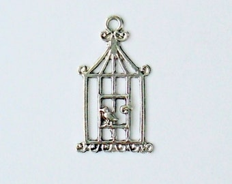 Bird in Cage Charm ~ 30mm x17mm ~ Antiqued Silver Zinc Alloy ~ Hanging Charm ~ Pendant  - Ships from USA (stk #A09)