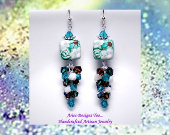 Emerald Gardens...Floral Polymer Clay Earrings in Emerald Green, Teal, Mocha and White