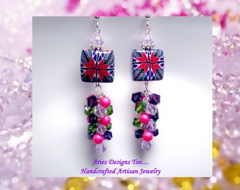 Abstract Polymer Clay Earrings in Hot Pink,Green and Purple