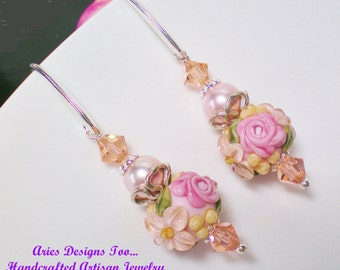 Chantilly Rose...Floral Lampwork Earrings in Pink and Peach