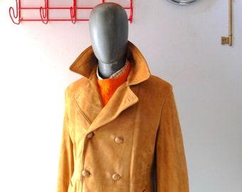 Men's Vintage Suede Coat - Mighty Mac Hand Cut Suede Pea Coat - Large 42 44 R - Thermal Lined - 70s Marlboro Man - Nantucket Prep - Like New