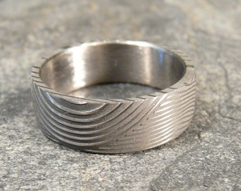 """50 PERCENT OFF- Damascus Stainless Steel Ring """"Wave"""" Pattern, Wedding Band Hand Made """"50% OFF"""""""