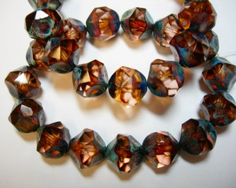 15 8mm Peach Travertine Thru Cuts Czech Glass Beads