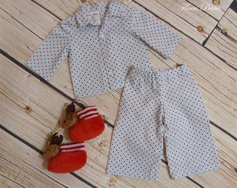 18 inch Doll Red/Blue Dot Pajamas with free Reindeer Slippers