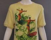 50s unisex SURFER PRINT mens Canary yellow Hawaii tropical knit top novelty print sweater shirt vintage kitsch 1950s