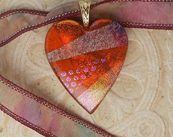 Dichroic Glass Heart Necklace, Dark Amber DGP- 097