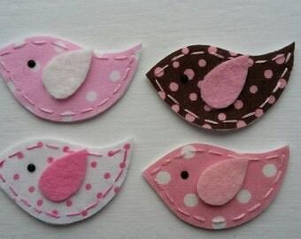 4 Handmade Fabric and Felt Felties Bird Appliques-Pink Brown Polka Dots