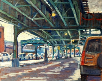 Under the Broadway El, NYC. Original Oil Painting on Panel, 8x10 Urban Impressionist Plein Air Realist Fine Art, Signed Original Cityscape