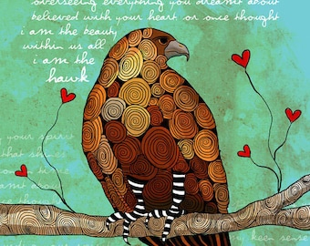 The Hawk / original illustration ART Print SIGNED / 8 x 10 / NEW