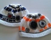 Star wars  force awakens bb8 and r2 d2 hats made to ordered. Handknitted  hats
