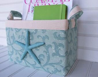 Coastal Turquoise Print Fabric Storage Basket with starfish