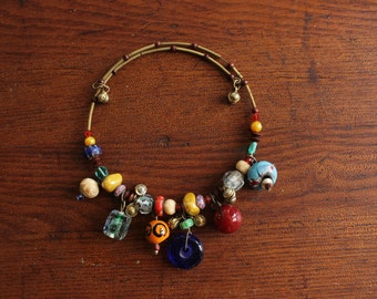 Eclectic Bohemian Gypsy Style Beaded Choker Necklace