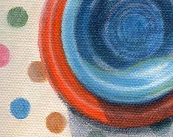 Kitchen Art, Mini Painting of Vintage Tableware, Small Acrylic Still Life Painting