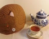 Sleeping brown cat tea cozy, tea cosy: Oscar