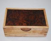 """Fantastically Figured Walnut  & Figured Cherry Jewelry Box 10"""" x 6"""" x 4"""