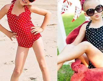 Little girls swimsuit beachwear girls bathing suit swim wear beach wear swim beach black and white polka dot red and white polka dot
