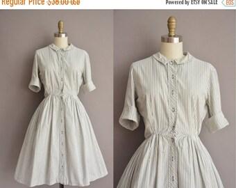 25% off SHOP SALE... 50s olive green pinstripe cotton vintage shirt dress / vintage 1950s dress