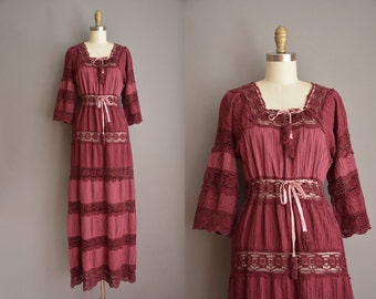 70s burgundy crochet cotton bohemian vintage dress / vintage 1970s dress