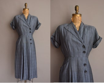 50s blue cotton Barbette vintage dress / vintage 1950s dress