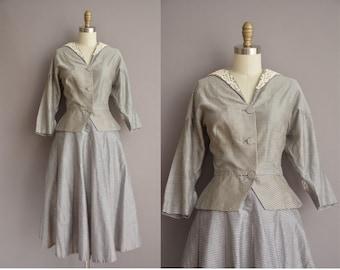 50s 2pc Eleanor Green gray plaid cotton vintage dress set / vintage 1950s dress