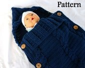 Baby sleeper PDF crochet PATTERN infant hooded cocoon instructions newborn sleep sack blanket buttoned cables nursery bedding warm