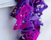 Pink And Purple Ruffled Lacy Scarf