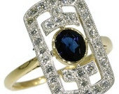 Valentines Sales Fine Art Deco Sapphire Ring Diamond 0.5ct Yellow Gold 18kt Floral Motif Engraved - Art Deco Ring ref.12157-0040