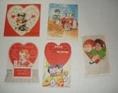 7)  Five Unused Vintage Valentine Cards