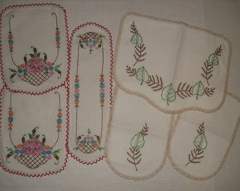 Vintage linens.  Embroidered Runners.