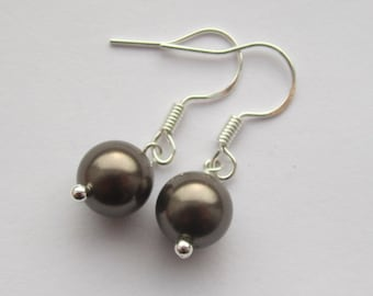 Simple Brown 8mm Swarovski Pearl Sterling Silver Earrings