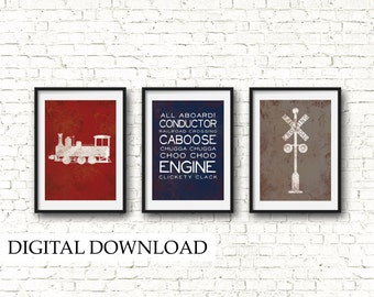 Vintage Train Engine Nursery Art Digital Download - Choo Choo Train, Railroad Crossing - Train Nursery Decor, Boy Train Nursery