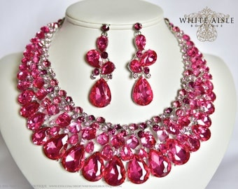 Fuchsia Bridal Jewelry Set, Crystal Necklace, Bridal Statement Necklace, Wedding Jewelry, Vintage Inspired Necklace, Crystal Necklace