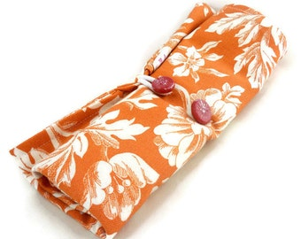 Large makeup brush storage rollup orange and white floral with button closures