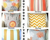 OUTDOOR Pillow Covers, Throw Pillows, Decorative Cushions, Orange Yellow Gray White, Beach Decor, Patio, One or More Mix & Match ALL SIZES