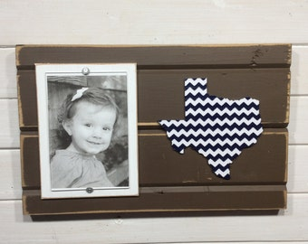 "Texas chevron picture frame holds 4""x6"" photo CUSTOMIZABLE"