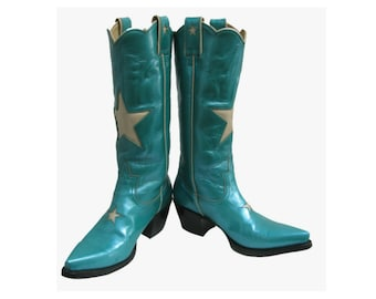 Star Cowboy Boots Vintage Womens Metallic Teal Leather Star Inlay Western Boots Will Fit Wms US Size 6 1/2 Made In Mexico