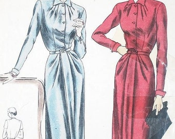 "ON SALE Misses' Pleated Neckline One-Piece Dress - SZ 14/Bust 32"" - Vintage 1950s Dress Sewing Pattern - Vogue 6186"