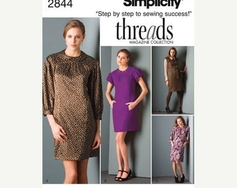 ON SALE Simplicity Dress Pattern 2844 - Misses' Dress in Four Variations - Sz 12/14/16/18/20