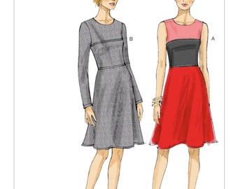 Sz 6/8/10/12/14 - Vogue Dress Pattern V8944 - Misses' Color Blocked, Yoked Dresses in Two Variations - Very Easy Vogue Patterns