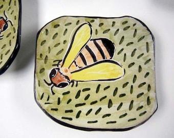 Ceramic Spoon Rest - Small Dish - Honey Bee - Tapas plate - Small Tray Pottery Clay Majolica Yellow Green Orange - Small Square Plate