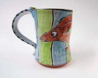 Ceramic Coffee Mug - Brown Dachshund Wiener Dog - Green Blue - Majolica Mug - 12 ounces oz - Pottery Clay Mug - Pet Dog Mug - Cup