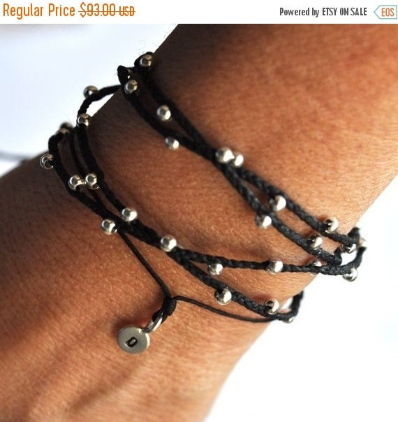 Valentine SALE Silver wrap bracelet - knotted - braided -  Quadrouple Twinkle bracelet- in Black Irish linen and sterlng silver