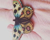 Butterfly, moth, ring, adjustable ring,yellow, teal, red, dots, wooden, wood, laser cut, By NewellsJewels on etsy